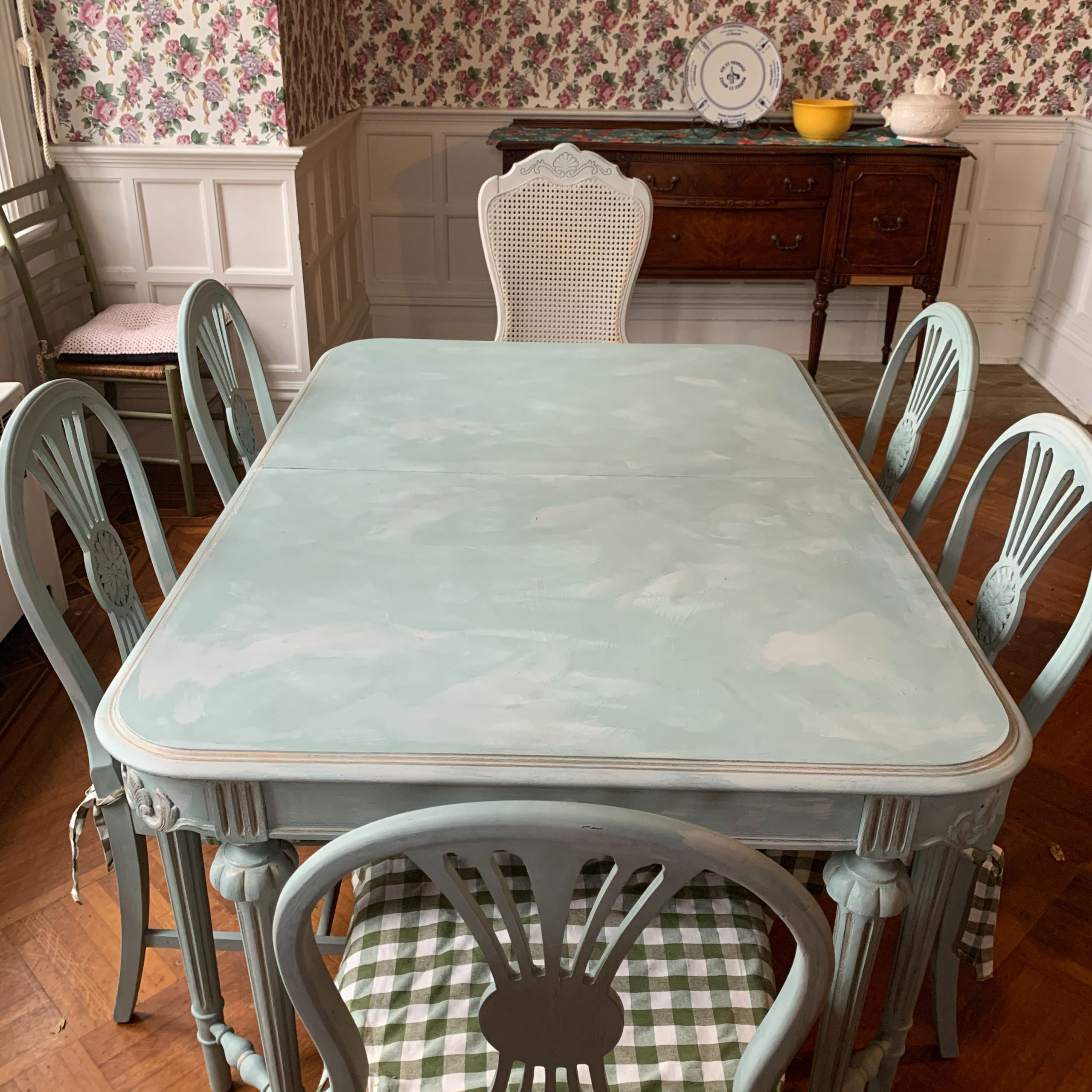 painted green and grey table