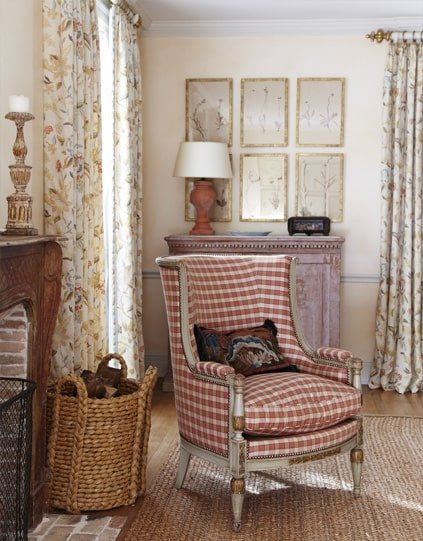 red checked armchair