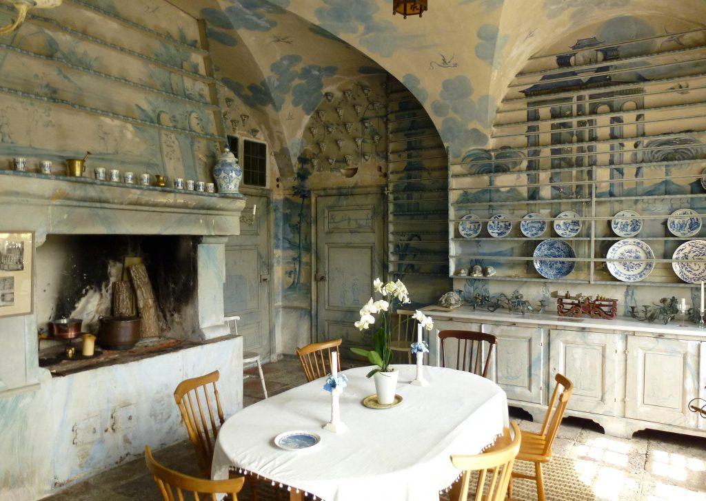 blue painted kitchen