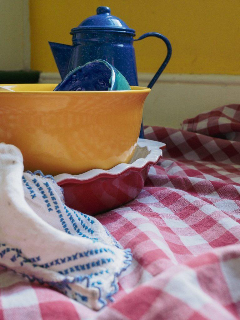blue teapot, yellow bowl