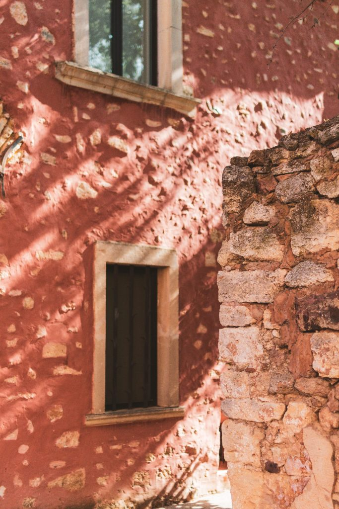 red plaster wall