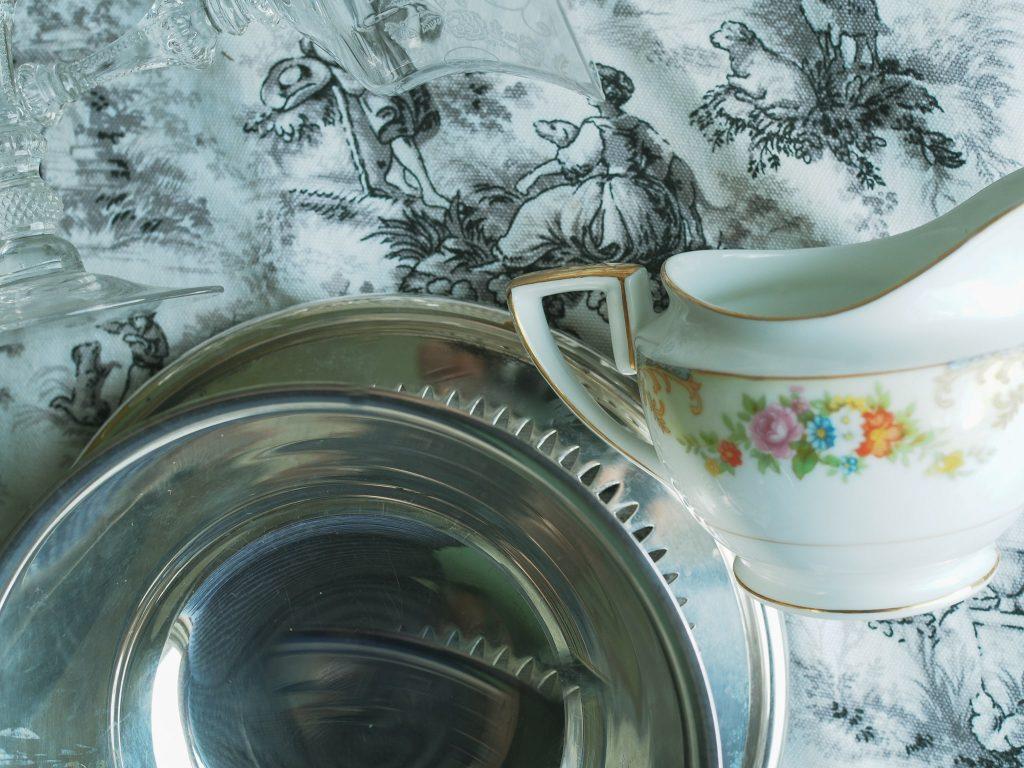 grey toile, silver bowl