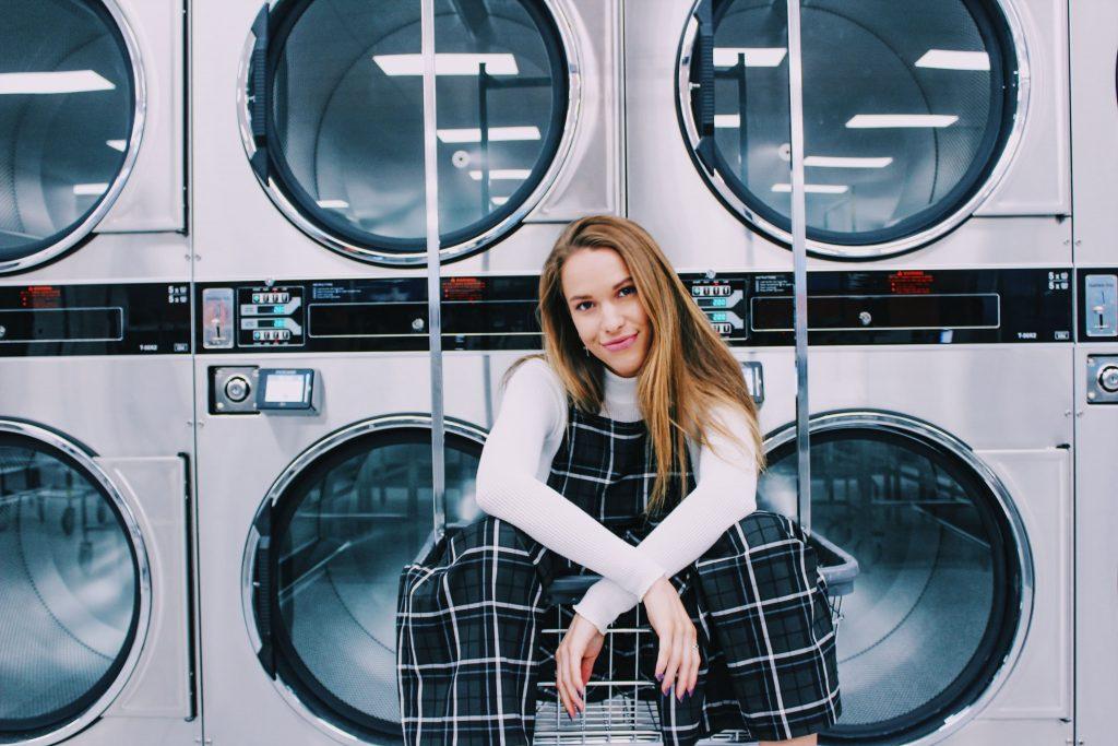 girl in laundry basket